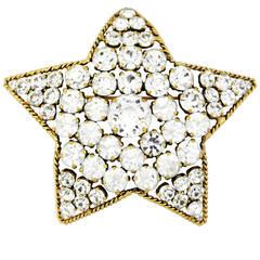 Rare 1983 Chanel Star Shaped Brooch/Pendant with Brilliant Rhinestones