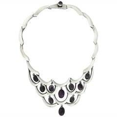 Antonio Pineda Sterling Silver & Amethysts Necklace