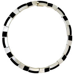 Antonio Pineda .970 Onyx Silver Choker Necklace 1955 Art Deco Style