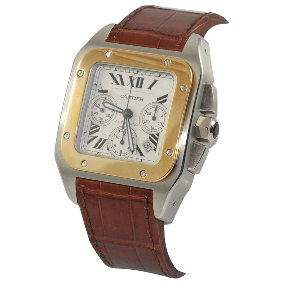 Cartier Yellow Gold and Stainless Steel Santos 100 Chonograph Wristwatch