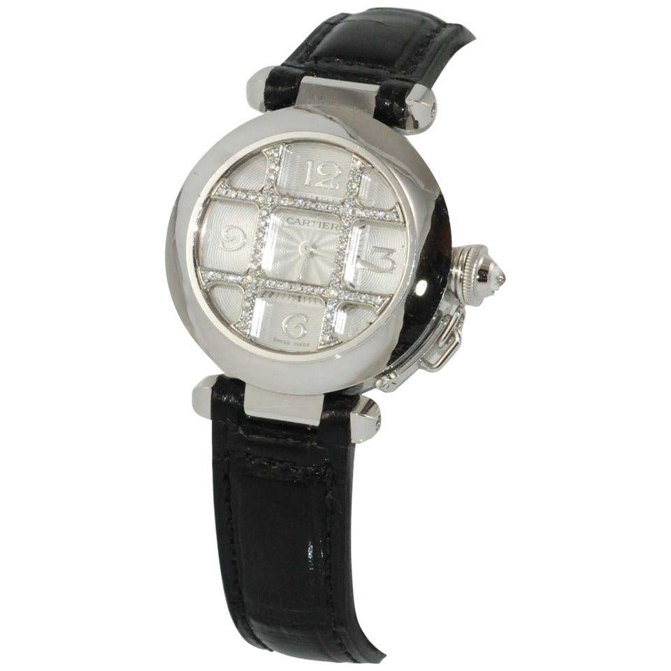 Brand new Cartier Lady's White Gold Pasha Wristwatch with Diamond Grid