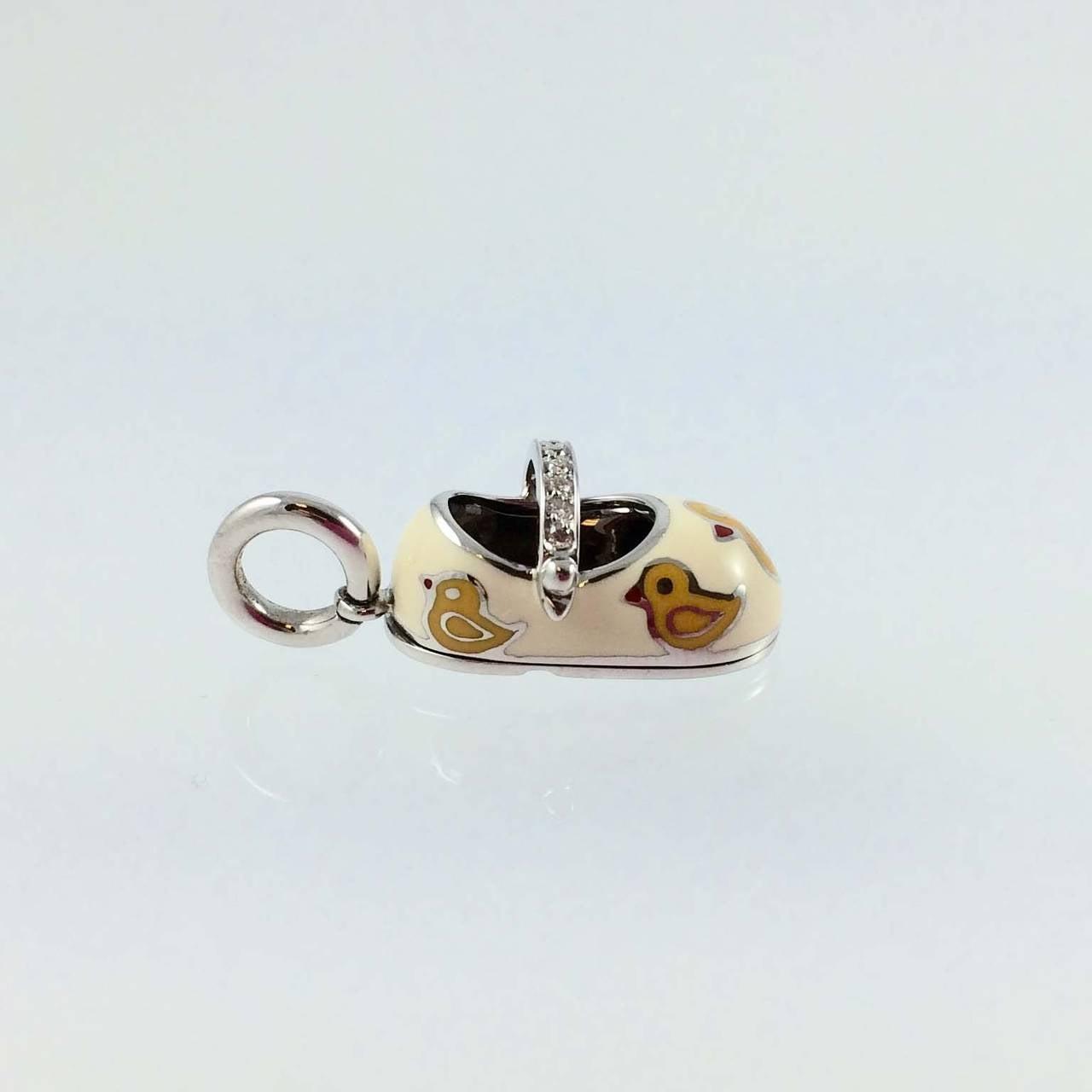 Aaron Basha Enamel Diamond Gold Duck Baby Shoe Charm For