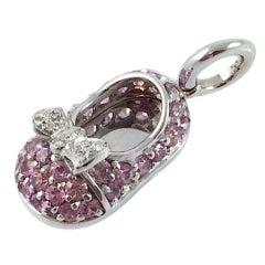 Aaron Basha Pink Sapphire Diamond Gold Baby Shoe
