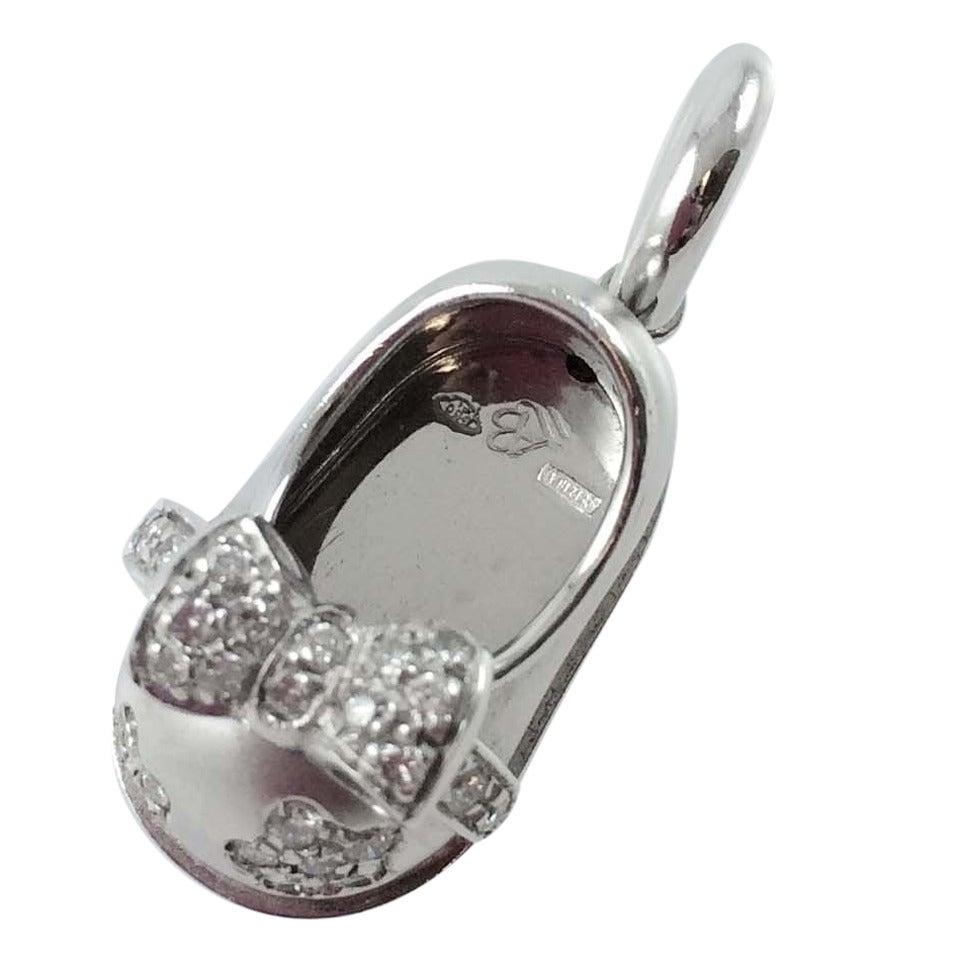 Aaron Basha Diamond Platinum Baby Shoe Charm For Sale at