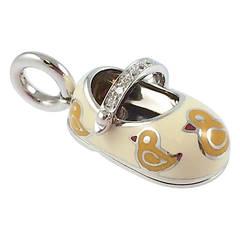Aaron Basha Enamel Diamond Gold Duck Baby Shoe Charm