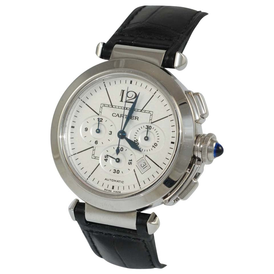 Cartier Stainless Steel Pasha Automatic Chronograph Wristwatch For Sale