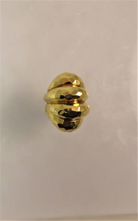 Contemporary Henry Dunay Yellow Gold Faceted Texture Ring For Sale