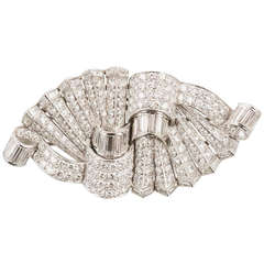 Platinum and Diamond Art Deco Double Clip Pin with Removable Frame