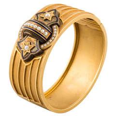 Victorian Style Gold Pearl Enamel Bracelet