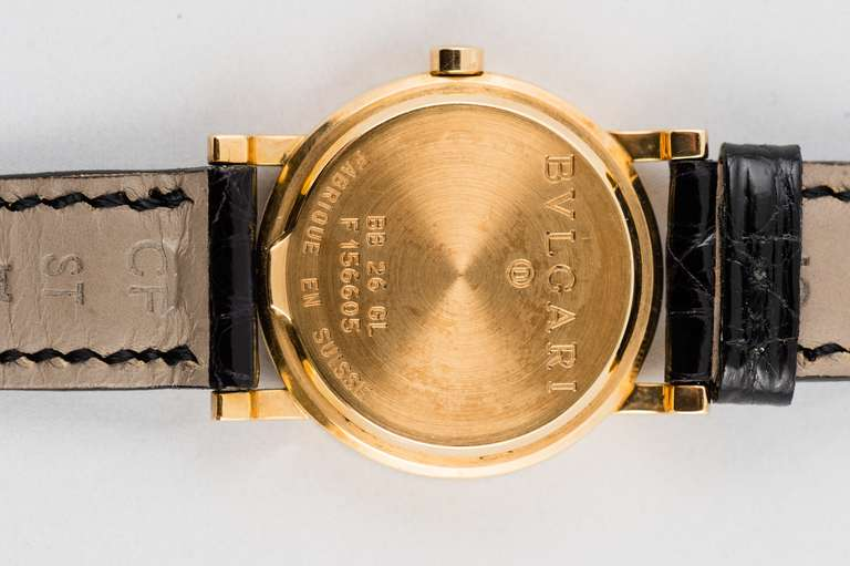 New Bulgari Lady's Yellow Gold Wristwatch In Excellent Condition For Sale In Chicago, IL