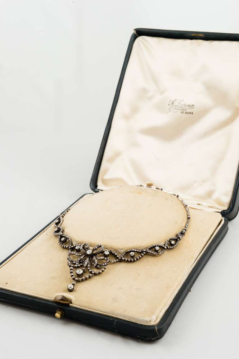Edwardian Silver Over Gold Diamond Necklace in Original Box In Excellent Condition For Sale In Chicago, IL
