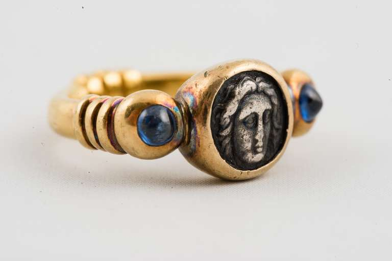 Yellow Gold Ring, Bezel Set With Roman Coin and Blue Sapphires 2