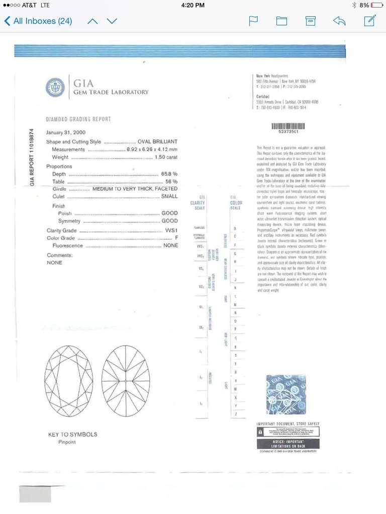 Women's Oval Diamond Weighing 1.50 Carat, F Color, VVSI Clarity, GIA, Bondanza Mounting For Sale