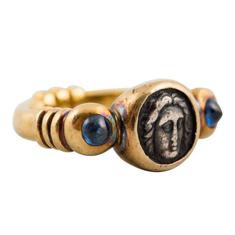 Yellow Gold Ring, Bezel Set With Roman Coin and Blue Sapphires 1