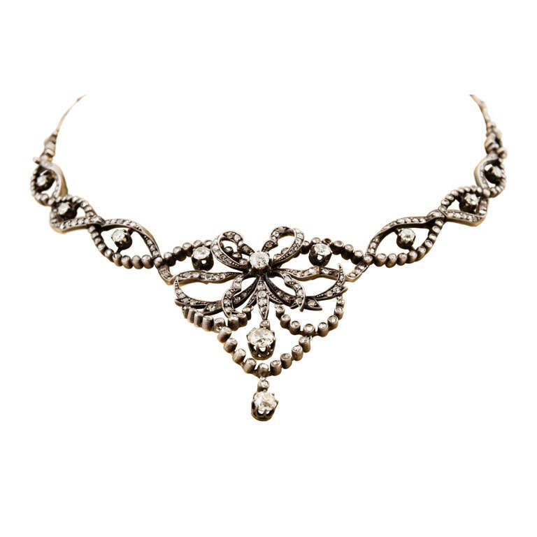 Edwardian Silver Over Gold Diamond Necklace in Original Box For Sale