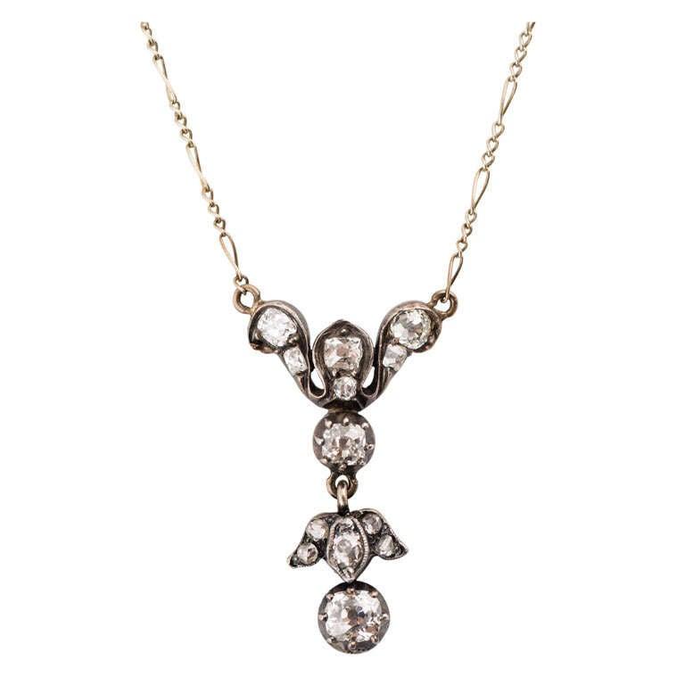 Black Anodized Silver Over Gold Diamond Pendant For Sale