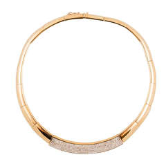 Invisibly Set Princess Cut Diamond Gold Choker