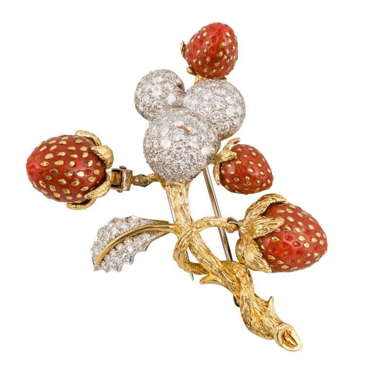 Yellow Gold And Platinum, Diamond And Coral Strawberry Motif Pin