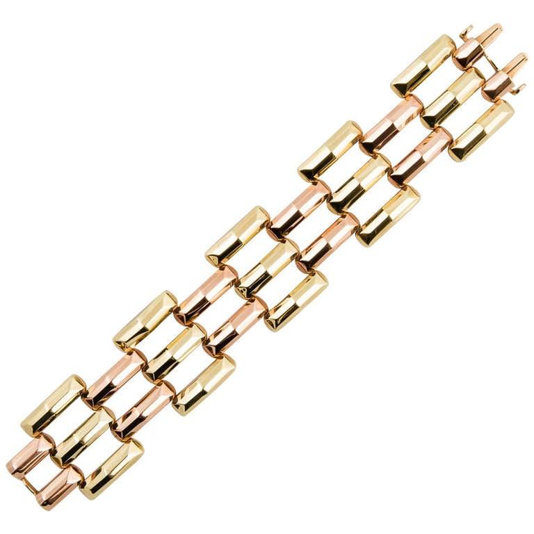 Retro Yellow And Rose Gold Bracelet