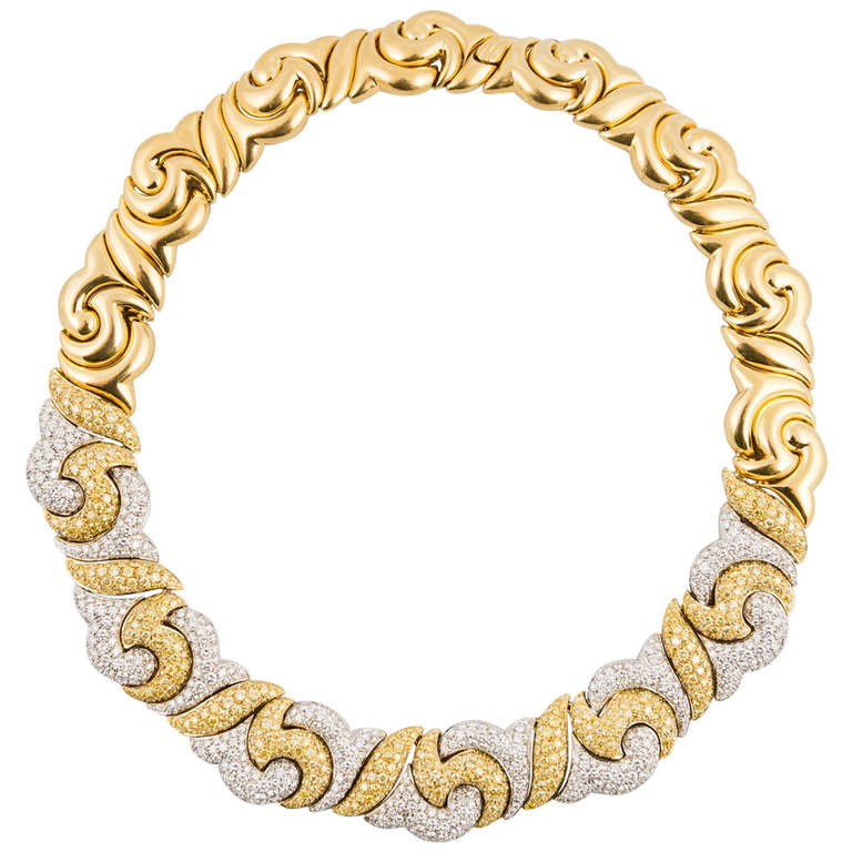 Picchiotti White and Fancy Yellow Diamond Gold And Platinum Choker