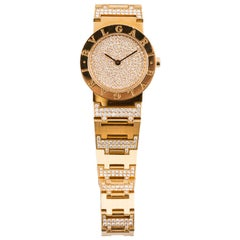 Bulgari Lady's Yellow Gold and Diamond Bracelet Watch