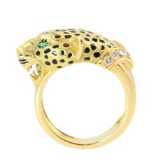 Enamel Emerald Diamond Gold Leopard Cocktail Ring
