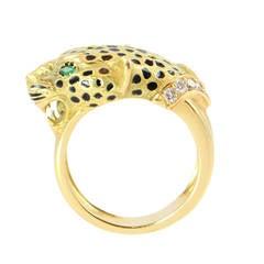 Enamel Emerald Diamond Gold Leopard Cocktail Ring