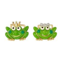 Aaron Basha  Enamel Frog Cufflinks