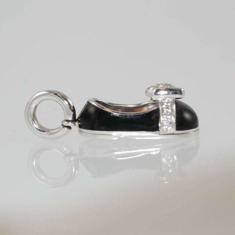 Aaron Basha Diamond Enamel Baby Shoe Charm at 1stdibs