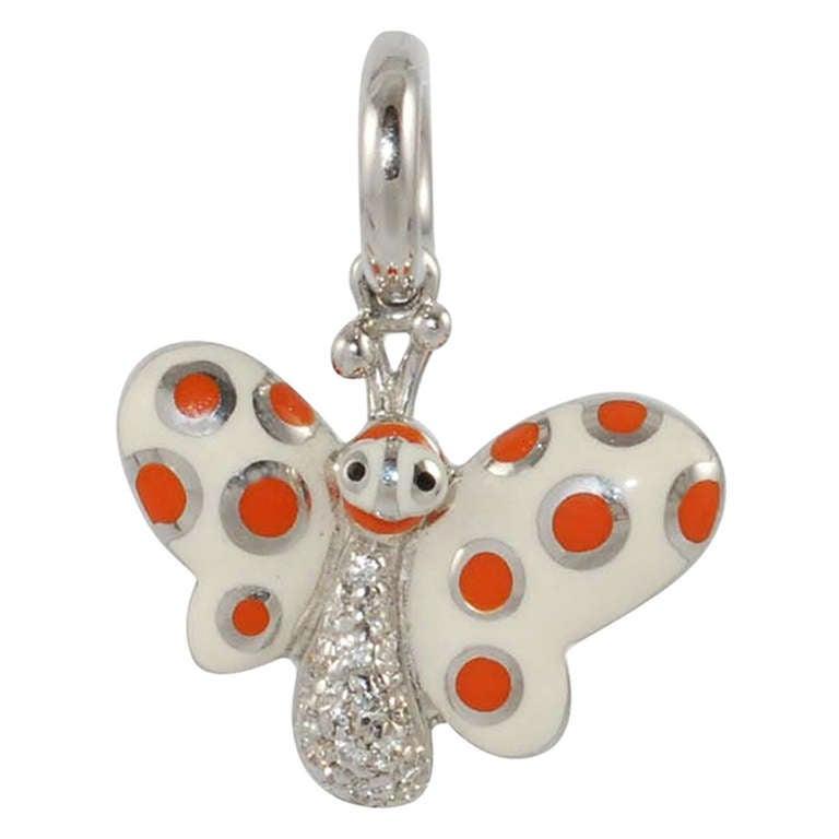 Aaron Basha Enamel Butterfly Charm