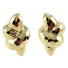 Henry Dunay Gold Faceted Earclips