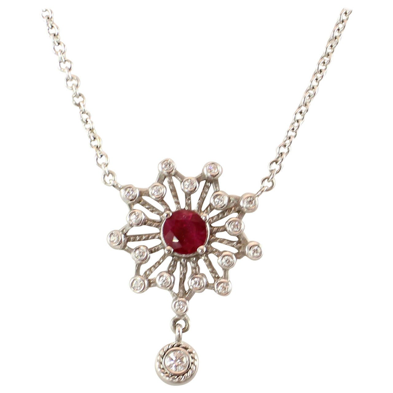 Doris Panos Lucia Collection Ruby Diamond Gold Star Drop Pendant