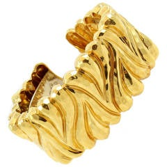 Henry Dunay Gold Hinged Faceted Cuff Bracelet