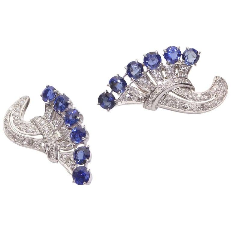 Art Deco Diamond and Blue Sapphire Ear Clips