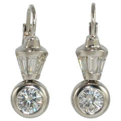 Diamond Platinum Wire Drop Earrings