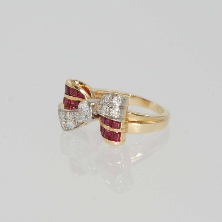 1940s ruby gold bow design ring at 1stdibs