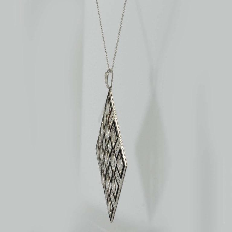 Art Deco Onyx Diamond Platinum Pendant For Sale