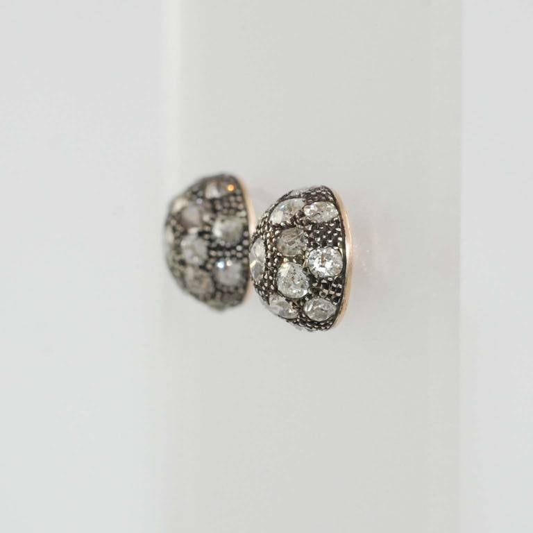 Victorian Diamond Rose Gold Earrings In Excellent Condition For Sale In Chicago, IL