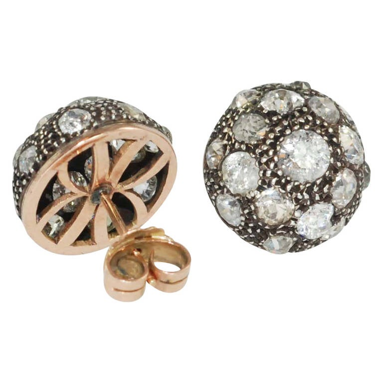 Victorian Diamond Rose Gold Earrings For Sale