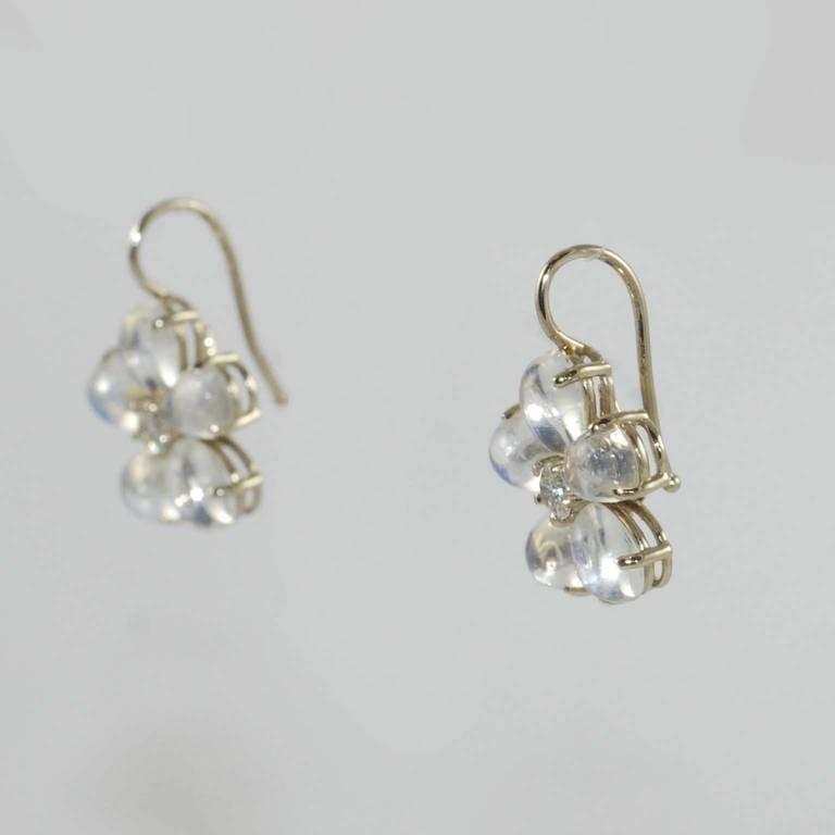 Moonstone Diamond White Gold Flower Design Drop Earrings