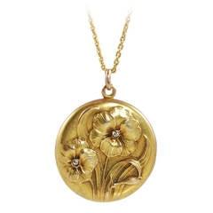 Art Nouveau Diamond Yellow Gold Floral Design Locket