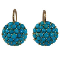 Victorian Turquoise Yellow Gold Drop Earrings