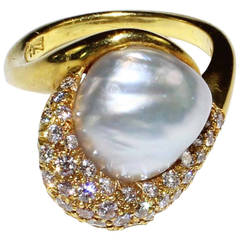 Henry Dunay Natural Pearl Diamond Gold Cocktail Ring
