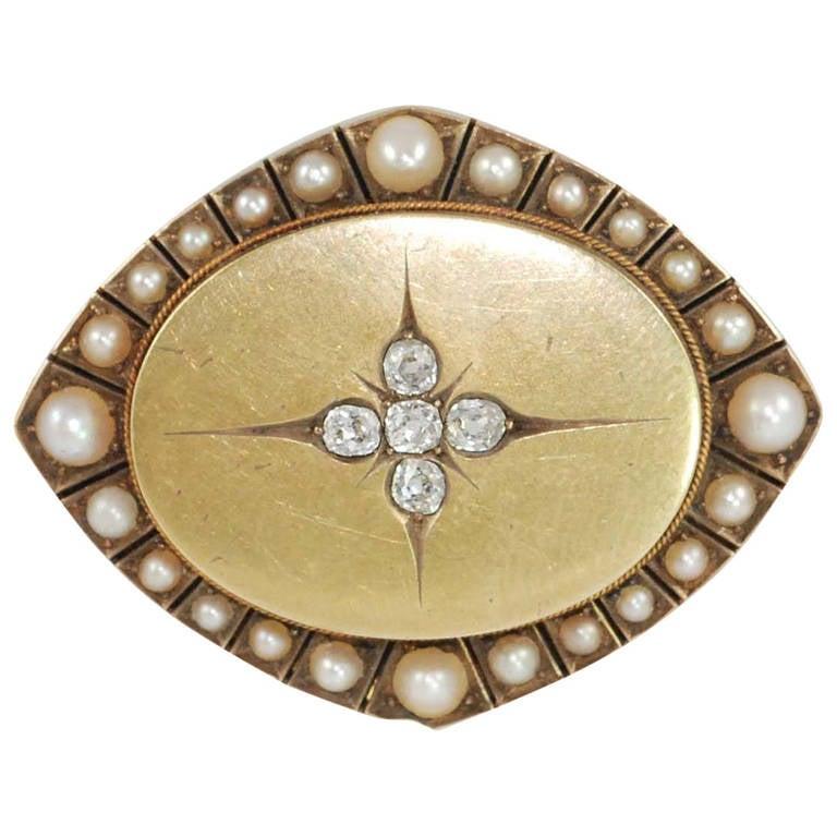 Victorian Pearl Rose Cut Diamond Yellow Gold Pin