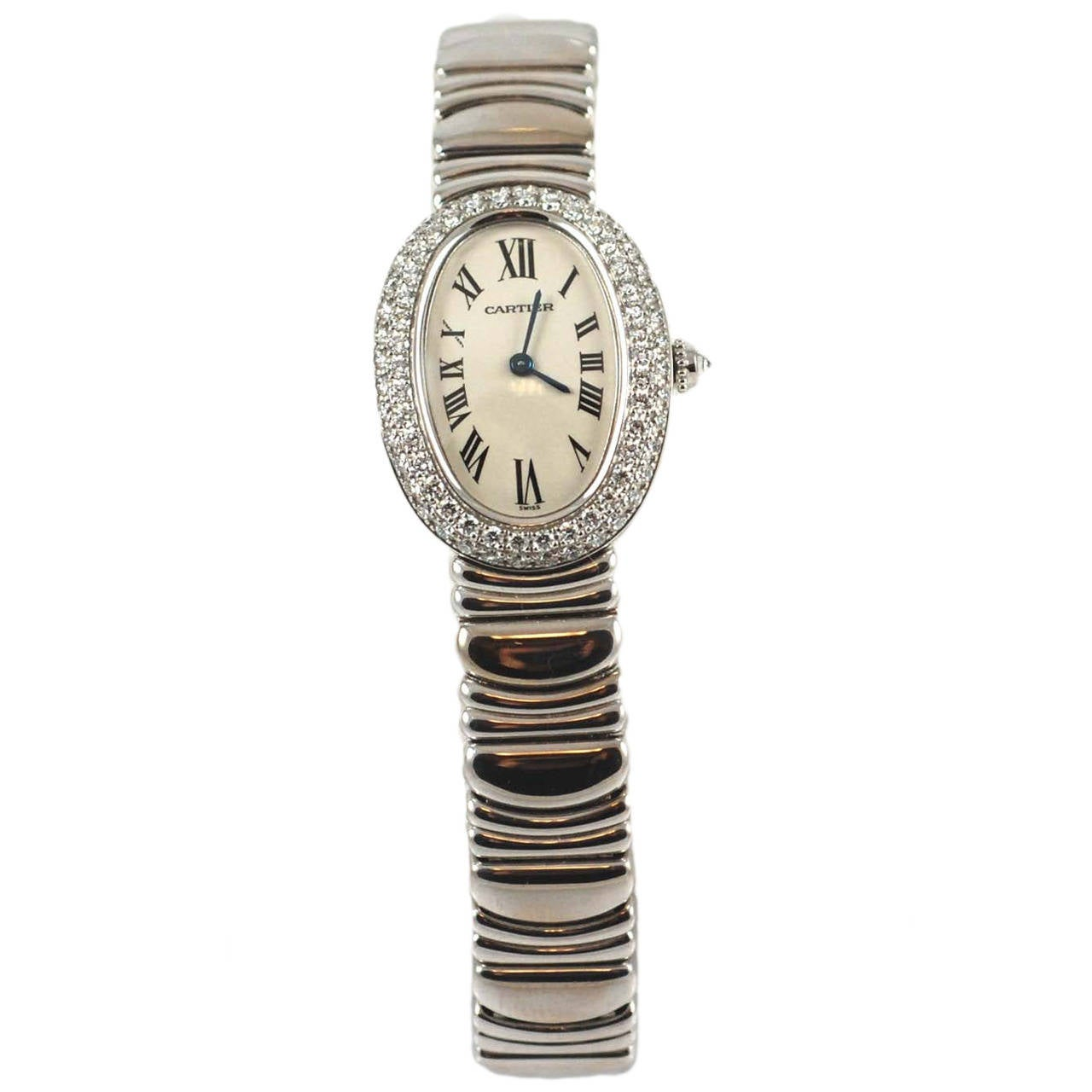 New Cartier Lady's White Gold and Diamond Baignoire Bracelet Watch
