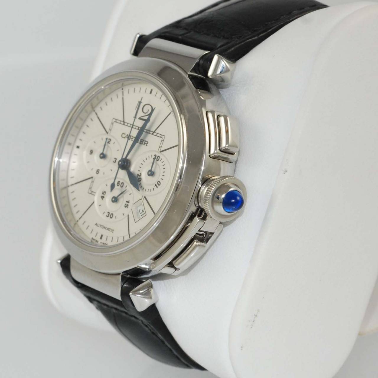 Cartier Stainless Steel Pasha Automatic Chronograph Wristwatch In Excellent Condition For Sale In Chicago, IL