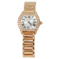 Cartier Lady's Rose Gold And Diamond Tortue Bracelet Watch
