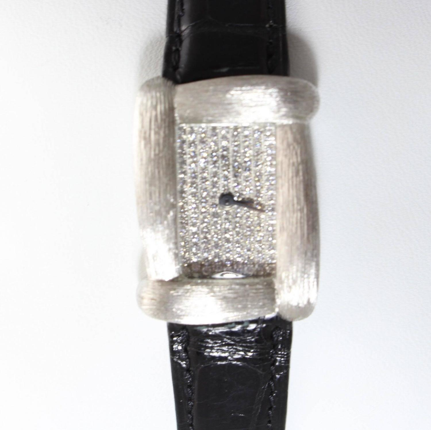 Henry Dunay Ladyu0026#39;s White Gold Diamond Quartz Wristwatch For Sale at 1stdibs