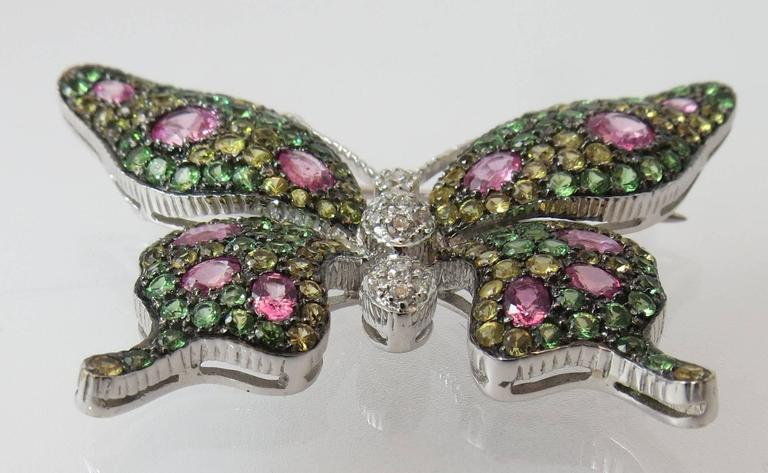 Contemporary Multicolor Sapphire Tsavorite Diamond Gold Butterfly Pin For Sale