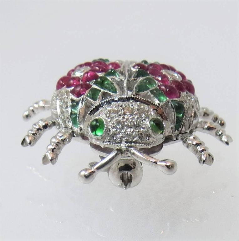Contemporary Fabulous Emerald Ruby Diamond Gold Beetle Pin For Sale